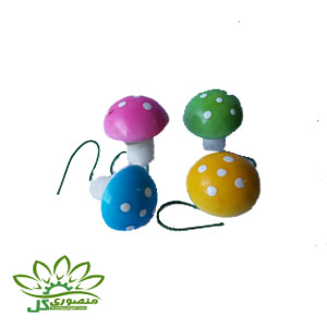 ماکت قارچ تزئینی رنگی کوچک ۴ عددی